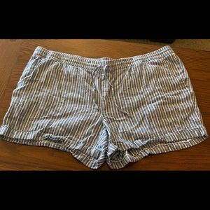 Old Navy Shorts - Blue & white linen shorts; Old Navy; plus size 3x